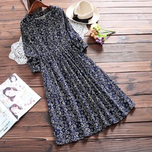 Spring Autumn Women Corduroy Casual Dress Round Neck Printing Cute Vestidos Long Sleeve Mori Girl Wine Red Navy Blue Dress M-2XL
