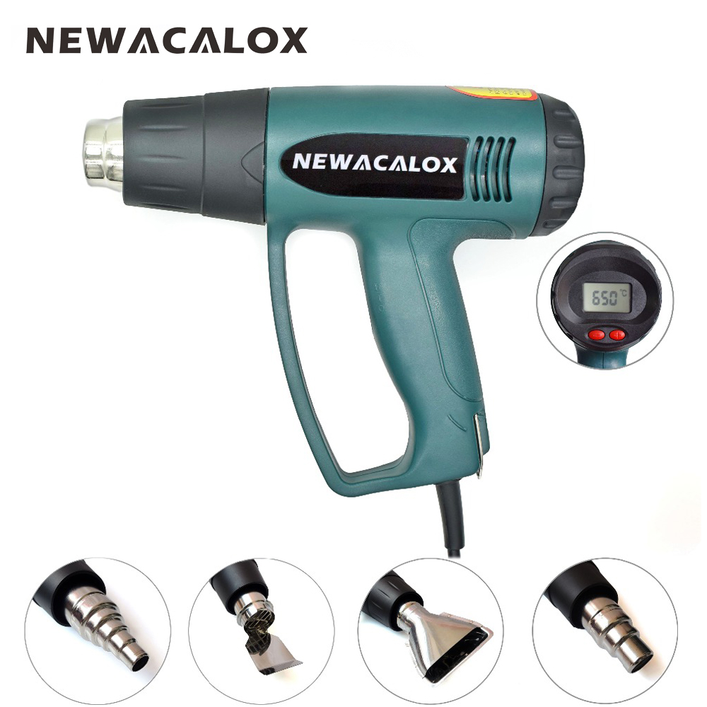 NEWACALOX 2000W 220V EU Plug Industrial Electric Hot Air Gun Thermoregulator LCD Heat Guns Shrink Wrapping Thermal Heater Nozzle<br>