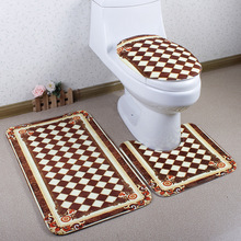 Bathroom 3pcs Set Toilet Anti-Slip Mat Grid White Brown Mats lfombras dormitorio Carpet Deurmat rugs tapis chambre