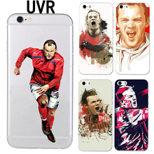 UVR Brand Wayne Rooney phone case for iphone 5 5s 6 6s 7 7 plus 6plus soft TPU Transparent Football case