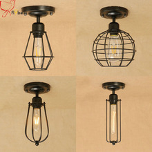 Retro indoor lighting Vintage ceiling lamp 4 kinds iron metal cage lampshade led ceiling lights fixture for warehouse loft aisle