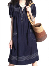 Free Shipping--Plus size clothing , mm loose one-piece dress , plus size summer light weight fabric denim short-sleeve dress
