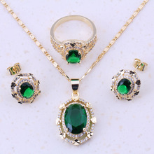 New Products 2017 Green Created Emerald & White CZ Yellow Gold Color Jewelry Sets Trend For Women Fashion Jewelry A0027(China)