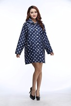 Polka Dot Women Long Jacket  Waterproof Women Hooded Rain Coat Women Fashion Rain Cape Ponchos Women Raincoat Regenmantel Frauen