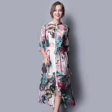 100% Silk Dress For Women Flower Printed Pattern Fashion Chiffon Dresses Office Lady Style China Silk Factory Direct Sale
