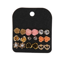 9 Pairs Claire Fashion Delicate Sweet Acrylic Rose Flower Stud Earrings Set Personalized Crystal Jewelry Accessories For Women(China)