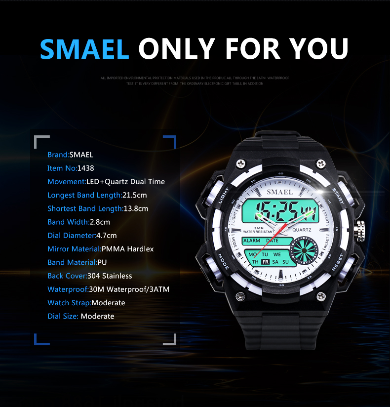 SMAELผู้ชายนาฬิกากองทัพดิจิตอลนาฬิกาสปอร์ตGสไตล์ช็อกนาฬิกาของมนุษย์1438นาฬิกาข้อมือm ontre homme LEDนาฬ... 15