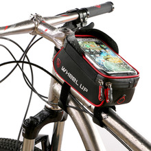 WHEEL UP Rainproof Front Zipper Bike Bag MTB Mountain Cycle Touch tube Screen frame cell Phone Bags Cycling Pouch Waterproof(China)