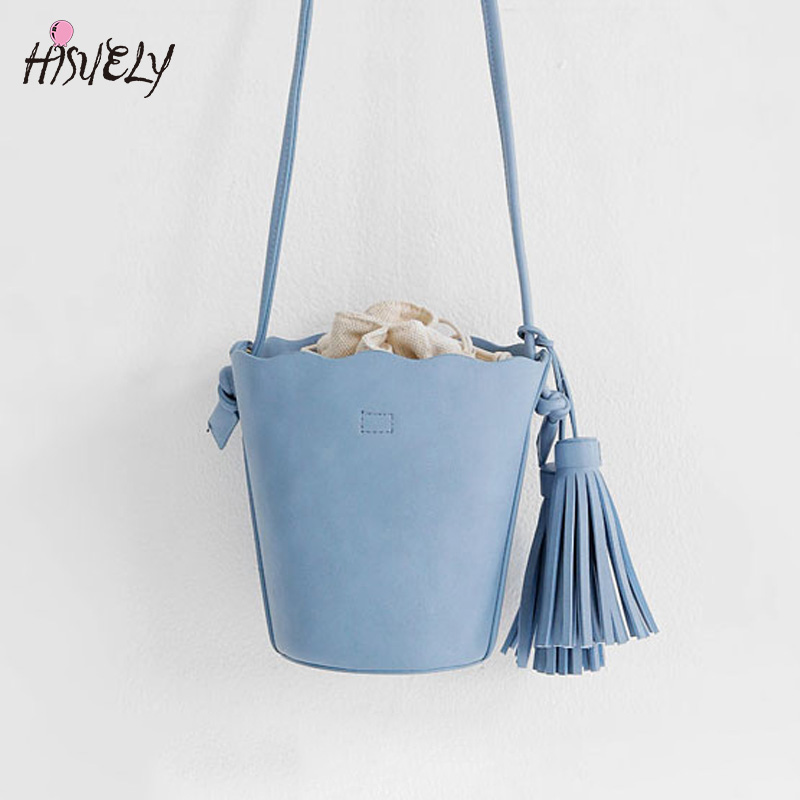 HISUELY Hot Sale New Women PU Leather Handbags Tassel Fashion Designer Black Bucket Vintage Shoulder Bags Women Messenger Bag 01<br>