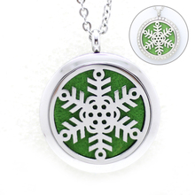 10Pcs Silver Snowflake Essential Oils Diffuser Lockets Pendants 316L Stainless Steel Aromatherapy Purfume Floating Locket