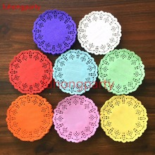 100pcs 3.5inch=8.8cm colorful colored Vintage napkin pads Hollowed Lace Paper mat doily Craft DIY Scrapbooking Weding Decoration(China)