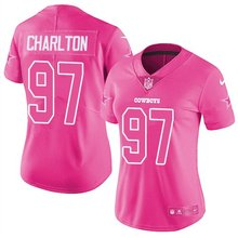 Nike Women's Dallas Cowboys 97# Taco Charlton Pink Stitched Limited Rush Fashion Jersey basketball jersey