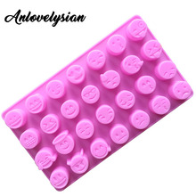 Anlovelysian 28 Holes QQ Expression Silica Gel Ice Lattice Silicone Chocolate Mold Silicone Baking DIY Jelly Mold Aromatherapy