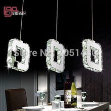 hot sales modern dinning table LED pendant light , chrome plated 3 lights crystal lamp