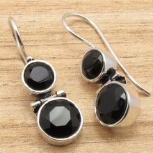 Silver Plated Jewelry! Natural Black Onyx Hinge Earrings! Latest Design!