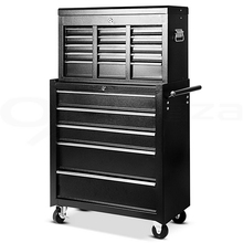 Shellhard Living Room Cabinet Mechanic Trolley Tool Box Cabinet with 16 Drawers Side Handles 4 Castors Part A+Part B