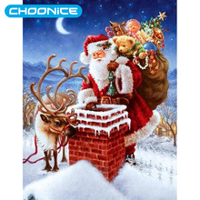 Diamond Painting Full Square Christmas Elk DIY 3D Diamond Embroidery Christmas Santa Claus Holiday Decoration Gift Night Chimney(China)