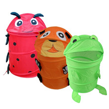 Cute Cartoon Style Laundry Toy Bin Storage Foldable Basket Kids Hamper Shop Sale HG99(China)