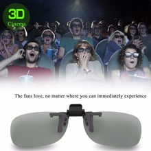 1Pcs Clip On type Passive Circular Polarized 3D Glasses Clip for 3D TV Movie Cinema Professional 3D Light Weight(China)