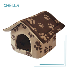 Pet House Removable Cat Tent Kennel Tactic Pomeranian Puppy House Paw Printing