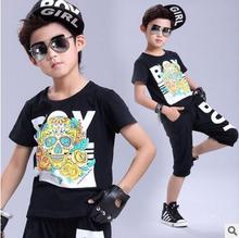 2017 New Fashion summer childrens clothing set Boy Girl Costumes Baseball wear shorts & Hip Hop dance T-shirt kids suits twinset
