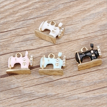 14*16mm Kawaii Sewing machines Shape Charm For diy Bracelet Key ring jewelry pendant supplies Decoration, Metal alloy Oil drop