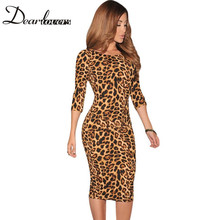 Dear lover Women Leopard animal Print Pencil Midi Dresses Low V Back women sexy Bodycon dress novidades vestidos 2017 LC6560(China)