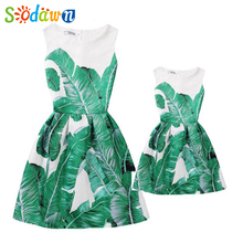 Sodawn 2017 New Summer Style Vintage Print Mother And Daughter Dress Summer Girl Princess Dress Fashion Family Party Dress(China)