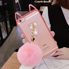 For iPhone 6 6S 7 Plus Case Luxury Cute Cartoon Cat ear Pom Transparent Phone case Plush Pearl Fur Ball Soft Back Cover Handmade