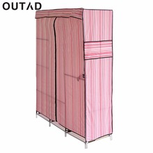Simple Design 68 Inch +70 Inch Folding Closet Wardrobe Clothes Stainless Rack Organizer Storage Wardrobe Cabinets(China)