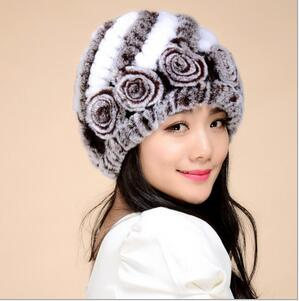 Genuine Rex rabbit Flower cap woven winter warm fashion women s woven fur hat Knitting Rabbit Skullies Beanies Women HatsОдежда и ак�е��уары<br><br><br>Aliexpress
