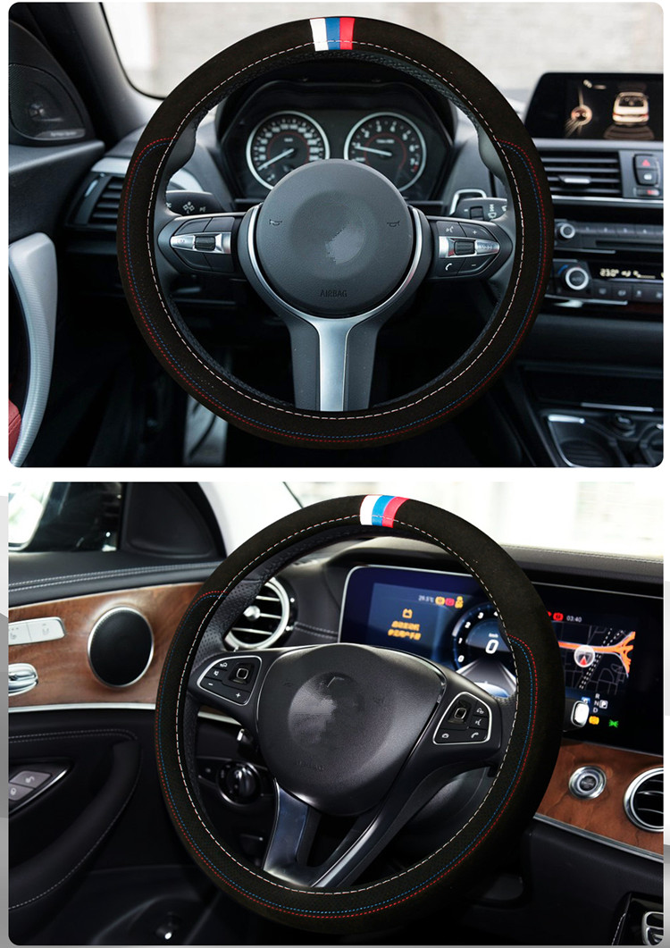 Car accessories Leather Car steering wheel cover All year can use sport Car styling Auto steering wheel Diameter  (7)
