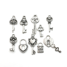 Mixed Tibetan Silver Plated Key Lock Love Charm Pendants for Bracelet Necklace Jewelry Diy Jewelry Making Handmade 10pcs(China)