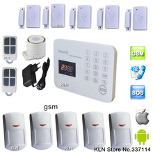 Touch Gsm Alarm System Sim Card Sistema de Alarma Control by Ios Android Sms Call with 3 Help Sos Numbers Security Home.