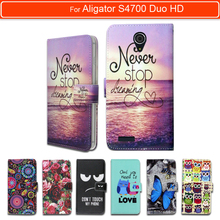 100% Special Luxury PU Leather Flip Cartoon wallet case Book case for Aligator S4700 Duo HD IPS, gift(China)