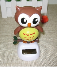 Shake head to furnishing articles vehicle interior lovely flowers car solar owl accessories small place doll