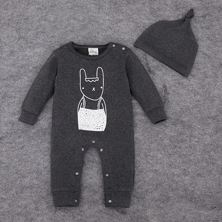 2017 Baby Girl Clothes Body Bebes Newborn Baby Bodysuits Cotton Baby Boy Bodysuit Baby rabbit printed +hat 2pcs<br><br>Aliexpress