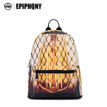 Epiphqny Brand Gold Color School Bag Stripe Pattern City Net Knapsack Geometric Printing Backpack Plaid Bulb Packbag Gray Cool(China)
