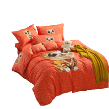100% cotton comforter set,queen twin double bedding set,orange bed sheet/cat printed comforter/pillowcase,comforter bedding