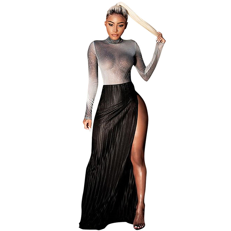 women shiny silver tops and high slit skirt set-5