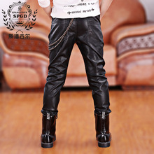 2017 Faux Leather Boys Pants Winter children's clothing skinny warm pants casual child cashmere trousers kids fashion pants PU(China (Mainland))