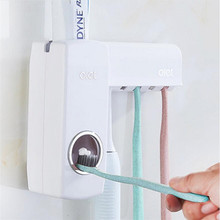 Automatic Bathroom Accessories Toothpaste Extruder Five Toothbrush Holder Set Solid Color Sucker Toothpaste Holders JJ147(China)