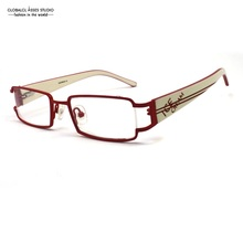 High Quality Small Shape Rectangle Lens Metal Women Frame Red Blue Orange Flex Hinge Wide Tip Prescription Optical Eyeglass 9148
