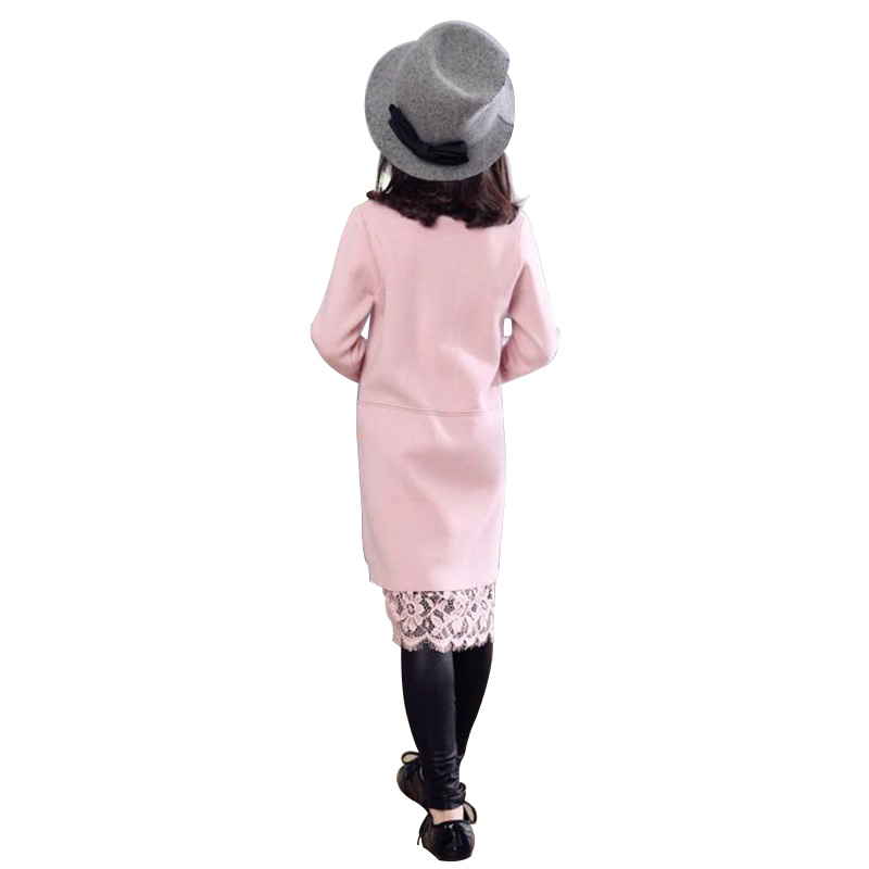 2106 New Childrens Clothes Winter Girls Dresses Casaco Inverno Brief Knitted Pullover Splited Stitching Dress With Lace Hem<br>