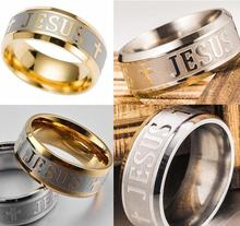 15pcs Etched JESUS Cross Stainless Steel Band Rings Comfort-fit Quality Christian Rings Wholesale Jewelry Lots(China)