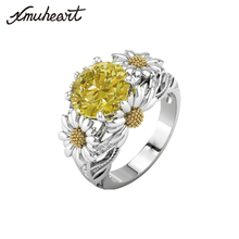 XMUHEART Party Rings For Women Women Fashion Jewelry Ring Zircon Crystal Silver Color Flower Yellow White Femme High Quality(China)