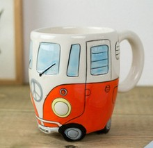 Cartoon Double Decker Bus Mugs Hand Painting Retro Ceramic Cup Coffee Milk Tea Mug Drinkware Novetly Gifts 1pc(China)