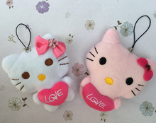 Super Kawaii Wedding Love Heart Hello Kitty Stuffed Plush Toy Doll , 6CM MIX Colors - string rope Stuffed Plush TOY DOLL