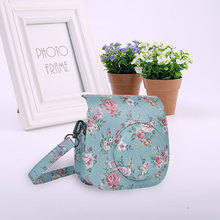 13.2x12.8x6cm Retro Camera PU Leather Floral Printed Bag Case Camera Bag With Strap for Fujifilm Instax Mini 8