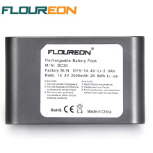 For Dyson 14.4V 2000mAh 28.8Wh FLOUREON Hand Held Vacuum Cleaner Battery DC30 917083-02 Li-ion Grey Rechargeable Battery